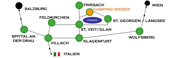 Anfahrts Wegspinne Camping Wieser, Längsee